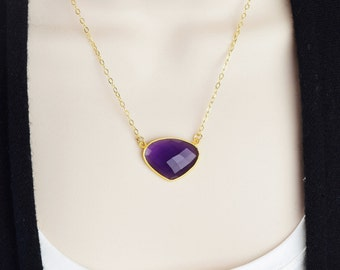 Amethyst Necklace Gold Purple Pendant Necklace - February Birthstone Jewelry - Amethyst Gemstone Pendant Gold - Mother Gift from Daughter