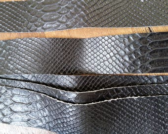 Strip of black embossed snake leather
