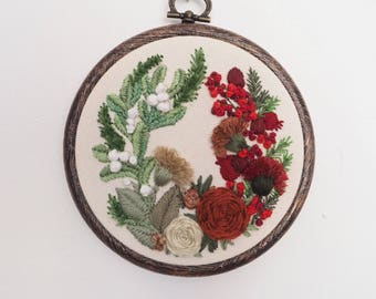 Hand embroidered festive floral wreath