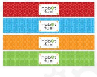 Robot Water Bottle Labels | Robot Fuel | Robot Birthday | Printable Labels | Instant Download | Robot Printable | Robot Stationery