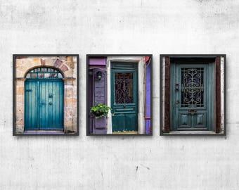 Blue Wall Decor 3 Photographs, Teal Wall Art Set of 3 Prints, Blue Door Prints, Door Travel Art, Door Photography