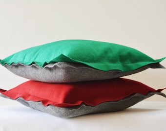 Green and Dark Grey Reversible Felt Cushion Cover, Decorative Pillow, Throw Pillow , Two Colour Reversible Felt Cushion Cover with Flange