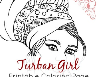African Girl Coloring Page | African Girl with Turban | Printable Adult Coloring Page and Digital Stamp