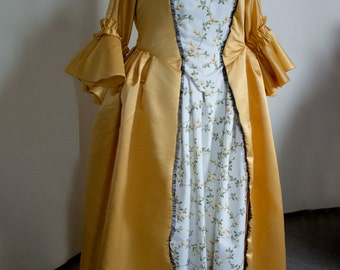 18th century inspired yellow dress, multiple choice of sizes! Colonial cosplay Marie Antoinette Rococo 1700s halloween carnival reenactment
