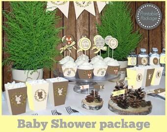 Woodland Baby shower Printable MEGA SET, Gender Neutral baby shower, Baby shower decorations, Baby shower Yellow, Animal baby shower