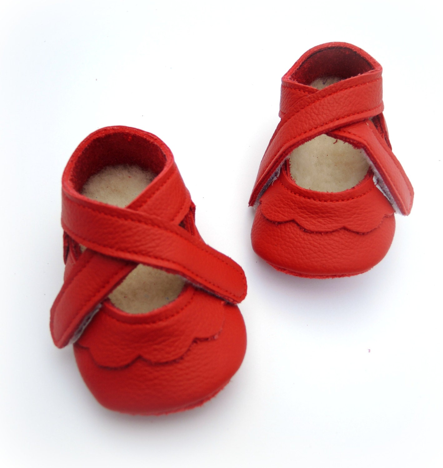 Handmade leather shoes for babies toddlers and children. Red