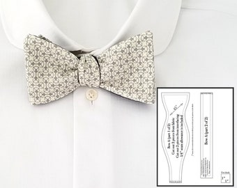 Bow tie pattern pdf Mens Bowtie pattern with tutorial for freestyle adjustable self tie bow tie