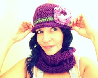 Pansy Purple Hat and Cowl Scarf Set Hand Crocheted by Raquel at theWRC winter cap Flapper style with brim