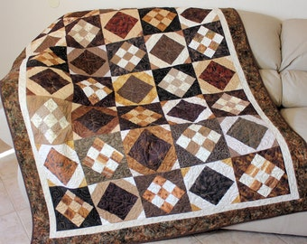 Masculine Brown Quilted Sofa Throw, Large Tan Brown Lap Quilt,  Blanket Gift for Him, Cabin Quilt, Quiltsy Handmade, Man Cave, Father's Day