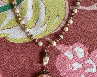 Upcycled Vintage CAMEO NECKLACE, Faux & Freshwater Pearls, Antiqued Copper