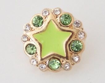 1 PC 12MM Green Star Enamel Rhinestones Silver Charm for Candy Snap Jewelry KB6515 Cc0595