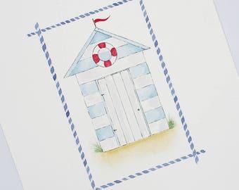 Beach hut,nautical,nursery wall art,neutral baby decor,children's illustration,new baby,nursery art,original,