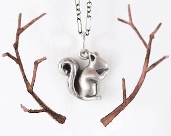 Squirrel Necklace!! Get Your Handmade Squirrel Pendant in Silver, 14k Gold, or Bronze! / Squirrel Pendant/ Squirrel Jewelry/ Squirrel Gift