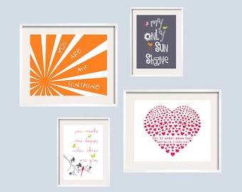 Kids Wall Art You Are My Sunshine Eclectic Prints Set in orange, dark grey, lime green,and light and hot pink.11x14 and 8x10  FREE SHIPPING