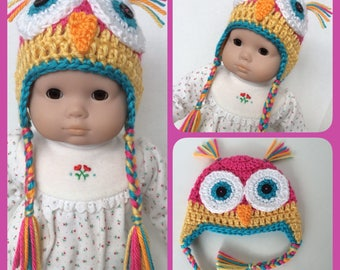Doll Clothes Made For Bitty Baby, Crochet Owl Earflap Hat with Braids, Handmade For 15 Inch Doll