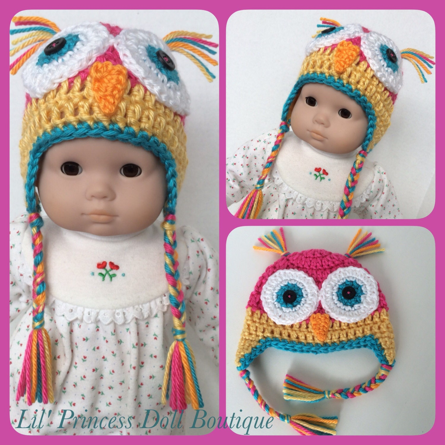Doll Clothes Made For Bitty Baby Crochet Owl Earflap Hat with
