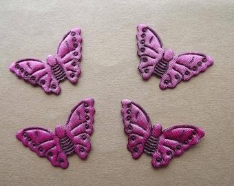 Applique butterflies Fuchsia polyester satin (x 8)