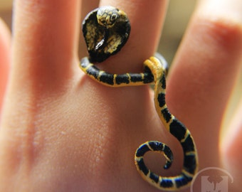 Snake leather ring, made to order worn art