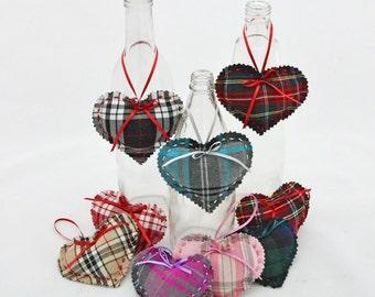 Scottish Tartan heart decorations