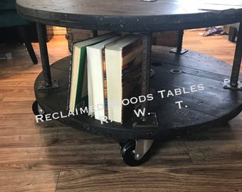 reclaimed industrial wire reel solid woodl spool coffee table rebar and locking casters custom, convo us for your specs FREE USA shipping
