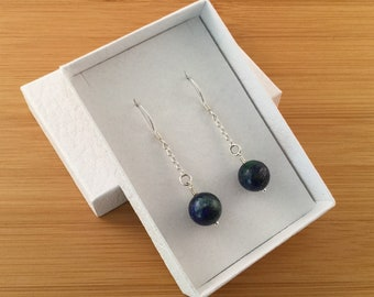 Two tone blue green marbled lapis lazuli sterling silver dangle earrings