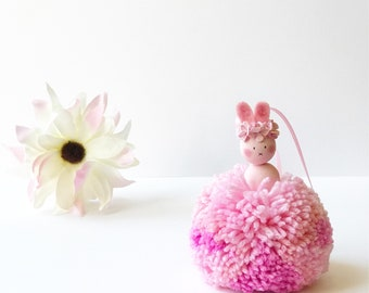 Rainbow Sparkle Pom Pom Bunny, New Baby Gift, Christening Gift, Easter Gift, Nursery Decor, Girls Room Decor, Girls Bedroom Decor, Baby show