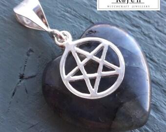 Solid 925 Sterling Silver Pentagram & Labradorite Heart