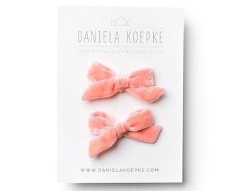 Pigtail Bows - Baby Bows - Velvet Pigtail Bows  - Peach Hair Bows  - Mini Bows - Hair Clips for Girls - Fabric Hair Bows