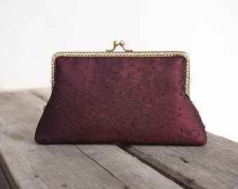 Burgundy Chantilly Clutch / Purse / Wedding / Bridesmaid Gifts / Bag / Handbag with Chain Strap