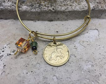 Gifts Under 35 Russia Coin JEWELRY World COIN Expandable Charm Brass Bangle Stackable Bracelet with 1997 Russian 50 kopek coin
