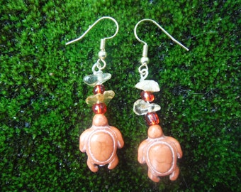 Honu Earrings, Turtle earrings, Orange earrings, Citrine Earrings, gemstone earrings, Honu Jewelry,