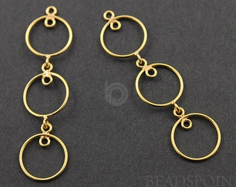 24K Gold Vermeil Over Sterling Silver, Pear Drop Chandelier Earring Component, Gorgeous Jewelry Component Finding, 1 PAIR  (VM/896/42X12)