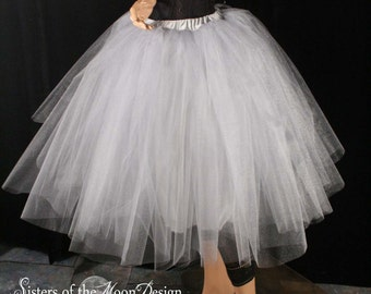 Silver Iridescent tulle tutu skirt Tea length romance Petticoat With Underskirt bridal bridesmaid wedding - All sizes - Sisters of the Moon