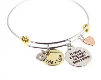 Teacher Appreciation Bracelet - Hand Stamped Custom Teacher Bracelet - Apple, Star, Teacher's Gifts - Expressions Bracelets