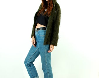 90s Fuzzy Sweater / Shaggy Cardigan / Hooded Cardigan / Long Hair Jacket / Khaki / Grunge Clothing / Button Up Sweater / Size L / XL