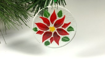 Poinsettia Ornament, Fused Glass, Red Flower, Christmas Flower, Holiday Decor
