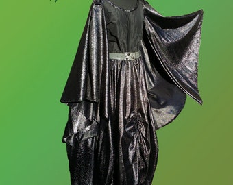 Majestic fantasy dress - black and shiney silver with wide sleeves and a cape - pagan dress Celtic dress festival dress Avalon dress
