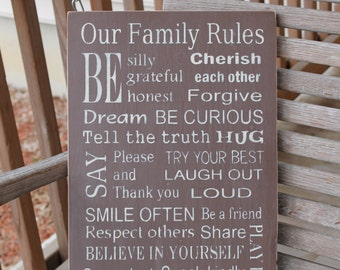 Family Rules, Family Rules Sign, Subway Sign, House Rules Sign, Housewarming Gift, Custom Family Rules, Rustic Sign, Family Values