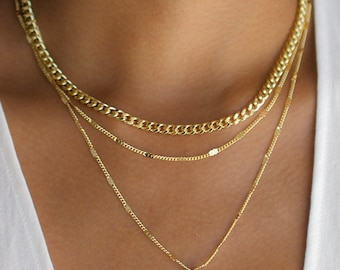 3 Layer Necklace, Layered Necklace Set, Gold Disc Necklace, 3 Layer Chain Necklace, Thick Gold Chain Necklace, Gold Layering Necklace