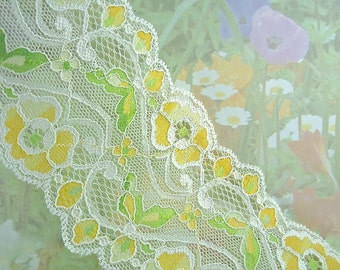 """Stretch Lace Trim 3"""" wide Elastic Ribbon Floral Design Flower Trim White wedding Lace Headband lingerie Elastic Lace by the yard cute"""