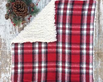 Red Plaid Lovey | Baby Lovey | Fur Blanket | Fur Lovey | Baby Blanket | Lovey Blanket | Lovey for Babies | Security Blanket