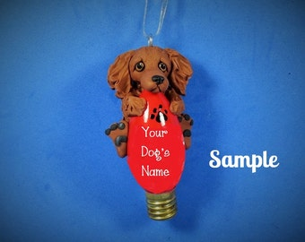 Dachshund Dog Red long hair coat Christmas Light Bulb Ornament Sally's Bits of Clay OOAK PERSONALIZED FREE with Pet's name