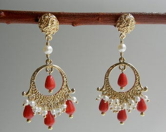 Coral and Pearl Beltiya Earrings
