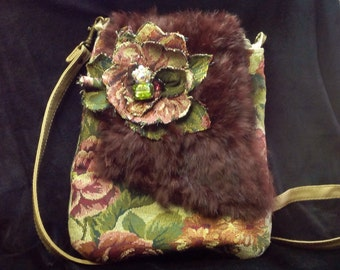 Brocade and Fur Cross-body Purse
