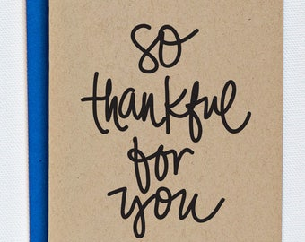 So Thankful For You Hand Lettered Greeting Card on Kraft
