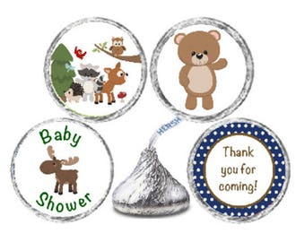 Woodland Creatures Forest Animals Baby Shower 324 Glossy Stickers for Candy Kiss® Favor Labels Bear Deer Raccoon Moose *Discounts Available