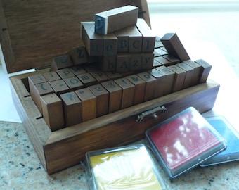 Wooden Rubber Alphabet Stamp Set with ink pad - 70 Letter set