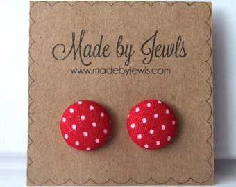 Crimson Red and White Polka Dot Handmade Fabric Covered Hypoallergenic Button Post Stud Earrings 10mm