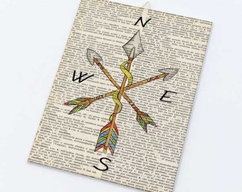 Watercolor Compass arrows dictionary Canvas board-Boho arrows canvas panel-Boho Arrows wall art-Compass wall art-by NATURA PICTA CB018
