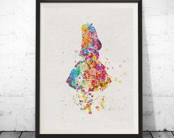 Alice in Wonderland inspired Watercolor Print Archival Fine Art Print Nursery Wall Art Wall Decor Art Home Decor Wall Hanging